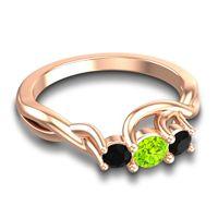 Peridot Petite Vitana Ring with Black Onyx in 18K Rose Gold