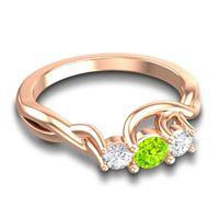 Peridot Petite Vitana Ring with Diamond in 14K Rose Gold