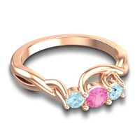 Petite Vitana Pink Tourmaline Ring with Aquamarine in 18K Rose Gold