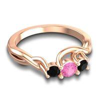 Pink Tourmaline Petite Vitana Ring with Black Onyx in 18K Rose Gold