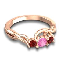 Pink Tourmaline Petite Vitana Ring with Garnet in 18K Rose Gold