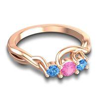 Pink Tourmaline Petite Vitana Ring with Swiss Blue Topaz in 18K Rose Gold