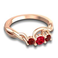 Ruby Petite Vitana Ring with Garnet in 14K Rose Gold