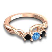 Swiss Blue Topaz Petite Vitana Ring with Black Onyx in 14K Rose Gold