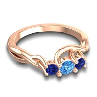 Swiss Blue Topaz Petite Vitana Ring with Blue Sapphire in 18K Rose Gold