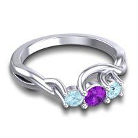 Amethyst Petite Vitana Ring with Aquamarine in Palladium
