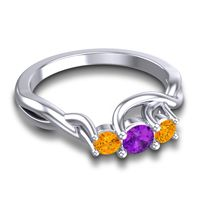 Amethyst Petite Vitana Ring with Citrine in 14k White Gold