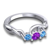 Amethyst Petite Vitana Ring with Swiss Blue Topaz in Platinum