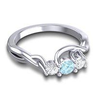 Aquamarine Petite Vitana Ring with Diamond in 14k White Gold