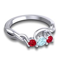 Aquamarine Petite Vitana Ring with Ruby in Palladium