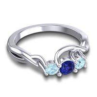 Blue Sapphire Petite Vitana Ring with Aquamarine in Platinum