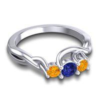 Blue Sapphire Petite Vitana Ring with Citrine in 18k White Gold