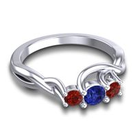 Blue Sapphire Petite Vitana Ring with Garnet in Platinum