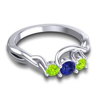 Blue Sapphire Petite Vitana Ring with Peridot in Platinum