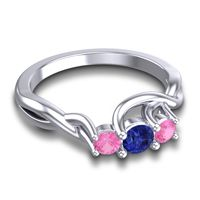 Blue Sapphire Petite Vitana Ring with Pink Tourmaline in 14k White Gold