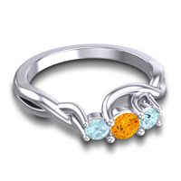 Petite Vitana Citrine Ring with Aquamarine in Platinum