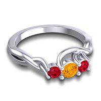Petite Vitana Citrine Ring with Ruby in 14k White Gold