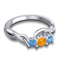 Citrine Petite Vitana Ring with Swiss Blue Topaz in Platinum