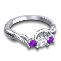 Diamond Petite Vitana Ring with Amethyst in 14k White Gold