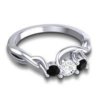 Diamond Petite Vitana Ring with Black Onyx in 14k White Gold