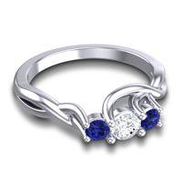 Diamond Petite Vitana Ring with Blue Sapphire in Platinum