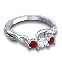 Diamond Petite Vitana Ring with Garnet in 18k White Gold