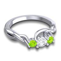 Diamond Petite Vitana Ring with Peridot in Platinum