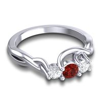 Garnet Petite Vitana Ring with Diamond in 18k White Gold