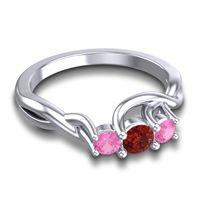 Garnet Petite Vitana Ring with Pink Tourmaline in Palladium