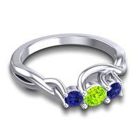 Peridot Petite Vitana Ring with Blue Sapphire in 14k White Gold
