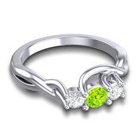 Peridot Petite Vitana Ring with Diamond in 18k White Gold