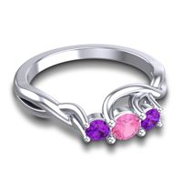 Pink Tourmaline Petite Vitana Ring with Amethyst in Platinum