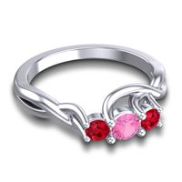 Pink Tourmaline Petite Vitana Ring with Ruby in Platinum
