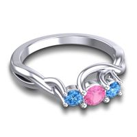 Pink Tourmaline Petite Vitana Ring with Swiss Blue Topaz in 14k White Gold