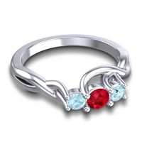 Ruby Petite Vitana Ring with Aquamarine in Palladium