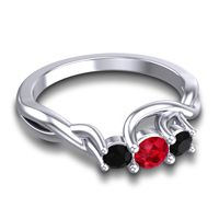Ruby Petite Vitana Ring with Black Onyx in 14k White Gold