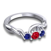 Ruby Petite Vitana Ring with Blue Sapphire in 14k White Gold