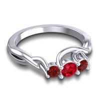 Ruby Petite Vitana Ring with Garnet in 14k White Gold