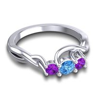 Swiss Blue Topaz Petite Vitana Ring with Amethyst in 18k White Gold