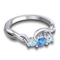 Swiss Blue Topaz Petite Vitana Ring with Aquamarine in 18k White Gold