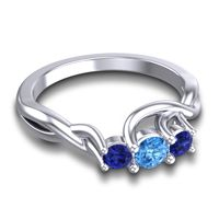 Swiss Blue Topaz Petite Vitana Ring with Blue Sapphire in 14k White Gold