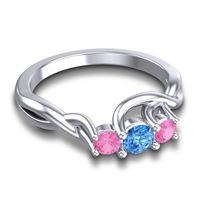 Swiss Blue Topaz Petite Vitana Ring with Pink Tourmaline in 14k White Gold