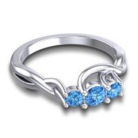 Swiss Blue Topaz Petite Vitana Ring in Platinum