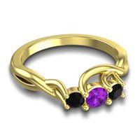Amethyst Petite Vitana Ring with Black Onyx in 18k Yellow Gold