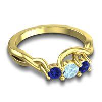 Aquamarine Petite Vitana Ring with Blue Sapphire in 14k Yellow Gold
