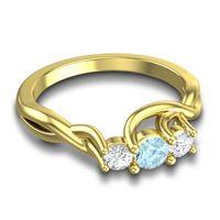 Aquamarine Petite Vitana Ring with Diamond in 18k Yellow Gold