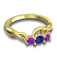 Petite Vitana Blue Sapphire Ring with Amethyst in 14k Yellow Gold