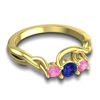 Blue Sapphire Petite Vitana Ring with Pink Tourmaline in 14k Yellow Gold