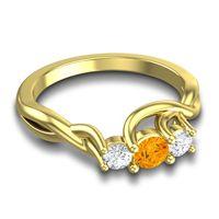 Citrine Petite Vitana Ring with Diamond in 18k Yellow Gold
