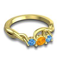 Citrine Petite Vitana Ring with Swiss Blue Topaz in 18k Yellow Gold